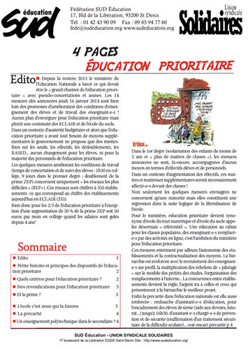 Dossier - éducation prioritaire - 2014