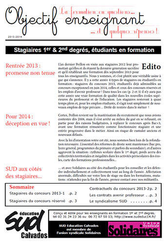 Dossier - Objectif enseignant 2013