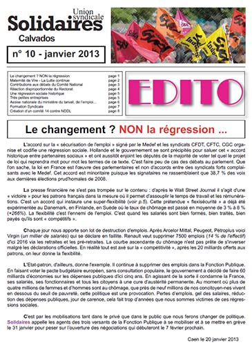 journal Solidaires Calvados n°10 - janvier 2013