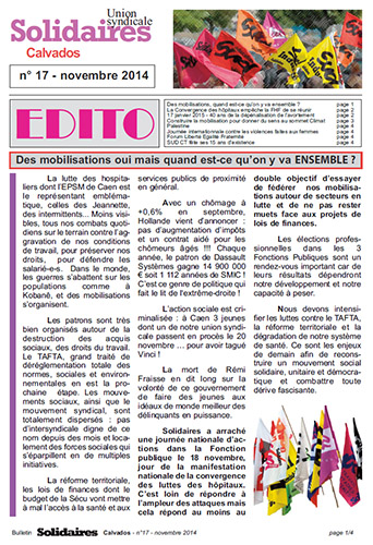 journal Solidaires Calvados n°17 - 21 novembre 2014