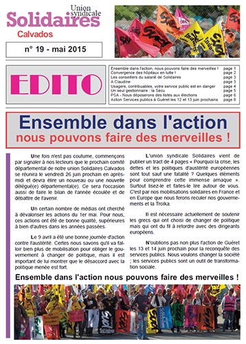 journal Solidaires Calvados n°19 - 15 mai 2015