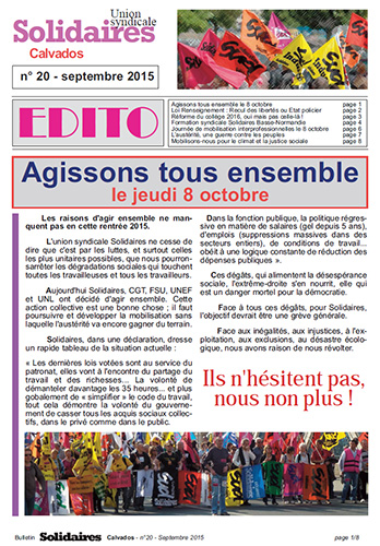 journal Solidaires Calvados n°20 - 25 septembre 2015