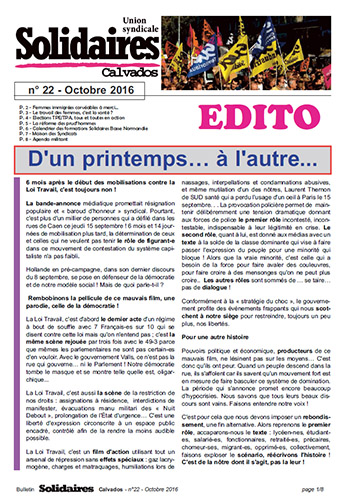 journal Solidaires Calvados n°22 - Octobre 2016