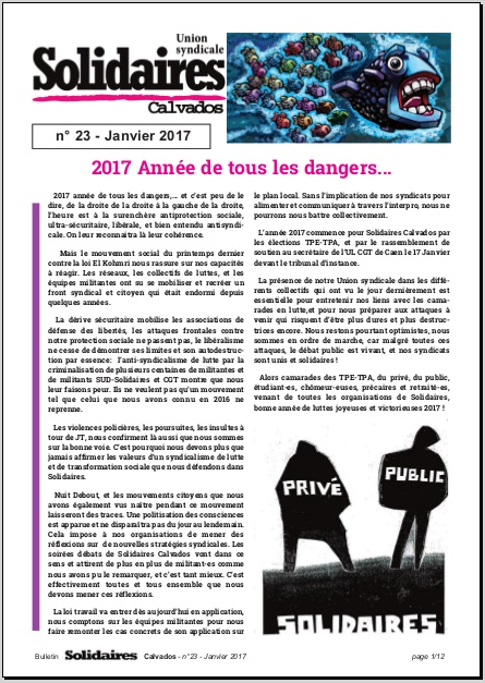 journal Solidaires Calvados n°23 - janvier 2017