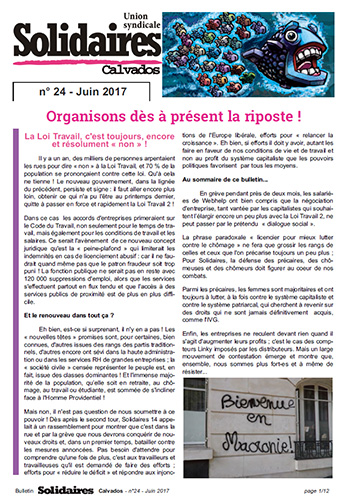 journal Solidaires Calvados n°24 - Juin 2017