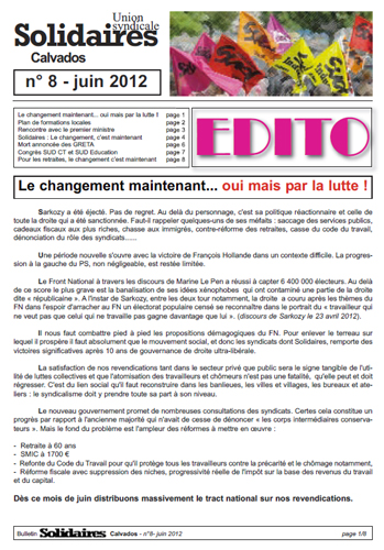 journal Solidaires Calvados n°8 - Juin2012