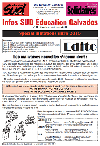journal SUD Education Calvados n°63 - Supplément 4 - Mars 2015