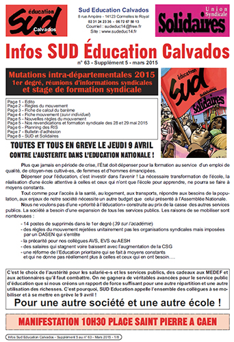 journal SUD Education Calvados n°63 - Supplément 5 - Mars 2015