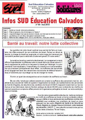 journal SUD Education Calvados n°64 - Mai 2015