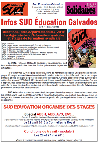 journal SUD Education Calvados n°67 - 4 mars 2016