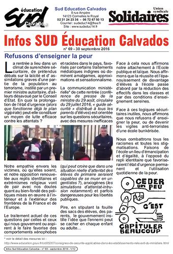 journal SUD Education Calvados n°69 - 30 septembre 2016