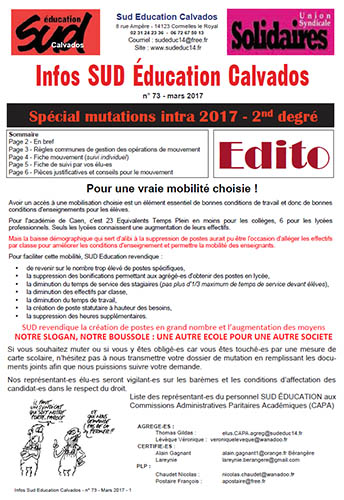 journal SUD Education Calvados n°73 - 11 mars 2017