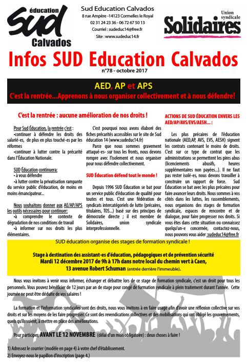 journal SUD Education Calvados n°78 - spécial AED -Octobre 2017