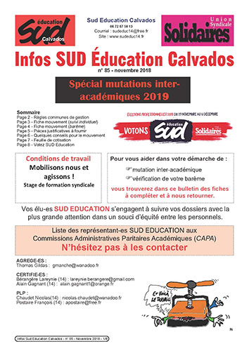 journal SUD Education Calvados n°85 - Spécial mutations intra - novembre 2018