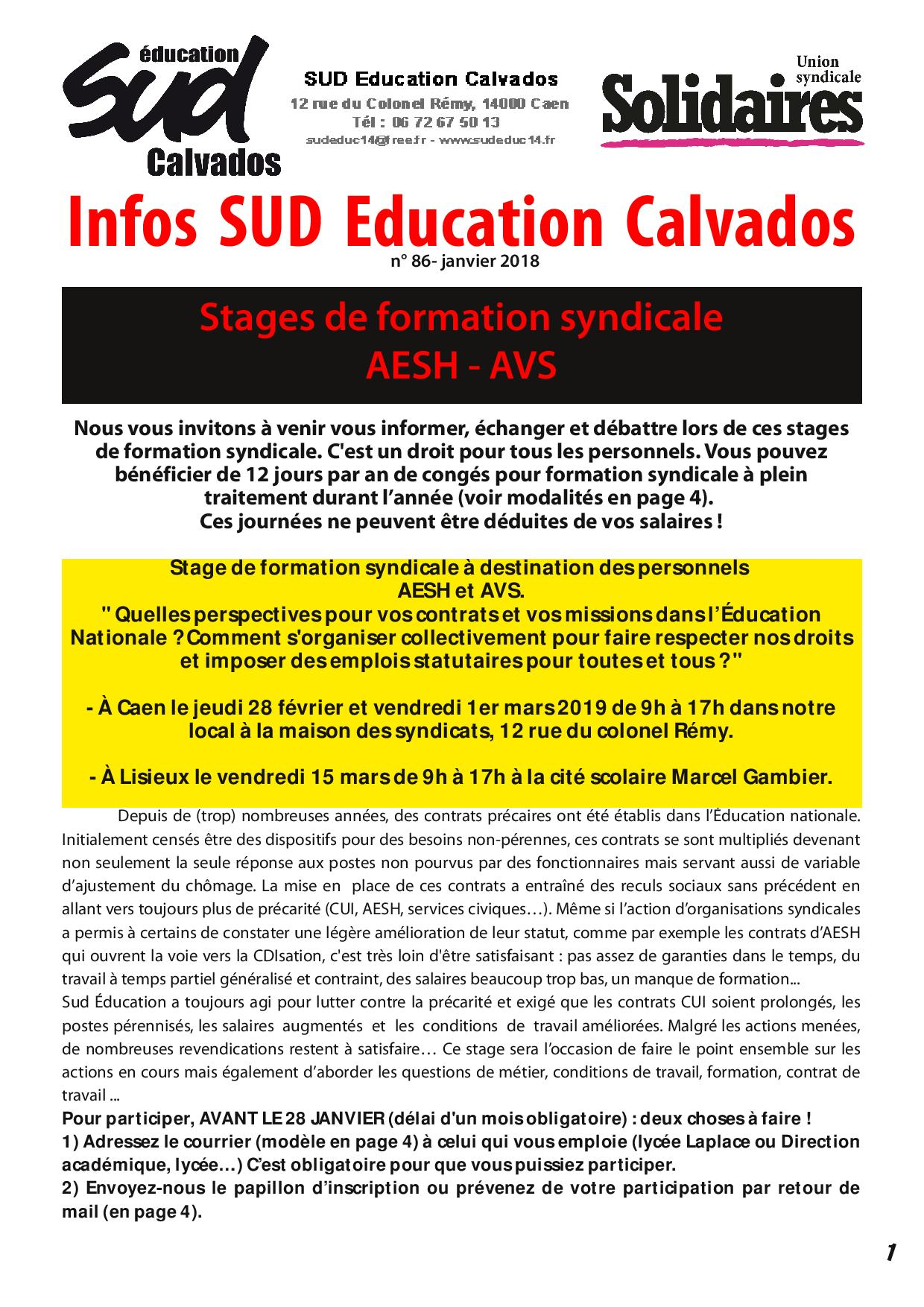 journal SUD Education Calvados n°86 - Spécial stage aesh