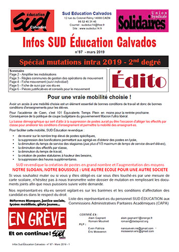 journal SUD Education Calvados n°87 - Spécial intra second degré 2019