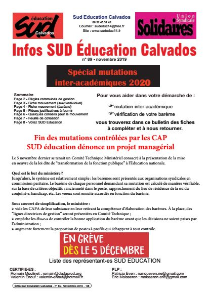 journal SUD Education Calvados n°89 - Spécial mutations inter- novembre 2019