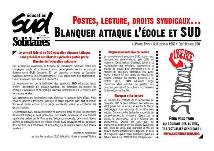 Panneau syndical SUD Education n°11