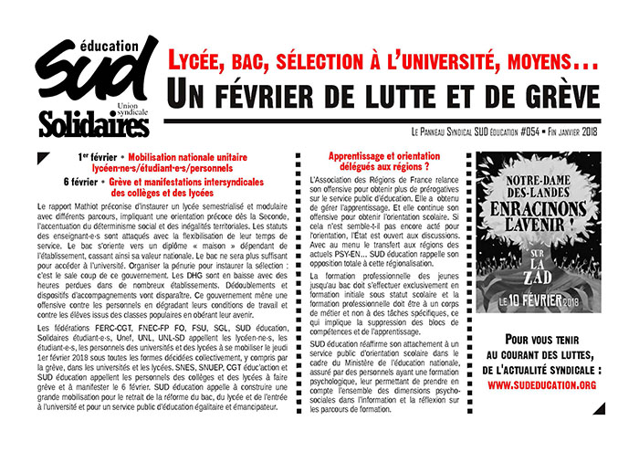 Panneau syndical SUD Education n°54