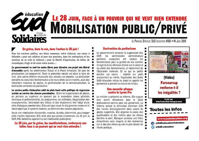 Panneau syndical SUD Education n°61