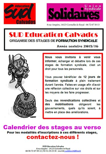 Calendrier des stages SUD Education Calvados 2015-2016
