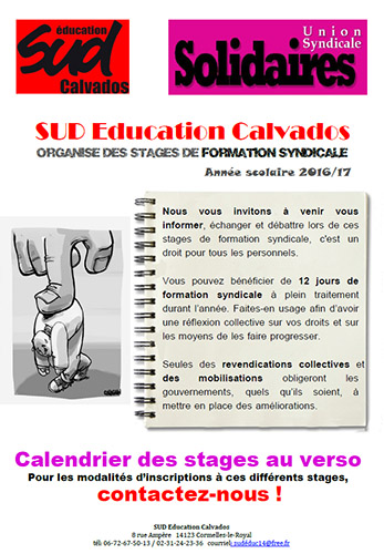 Calendrier des stages SUD Education Calvados 2016-2017