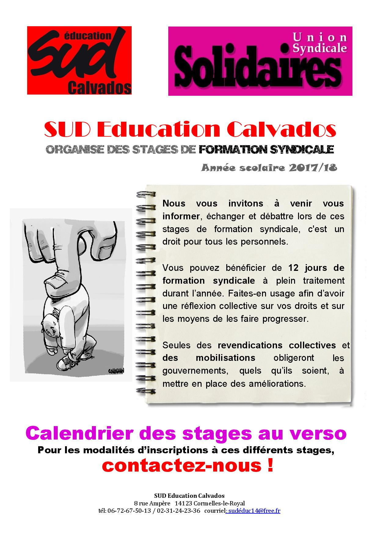 Calendrier des stages SUD Education Calvados 2017-2018