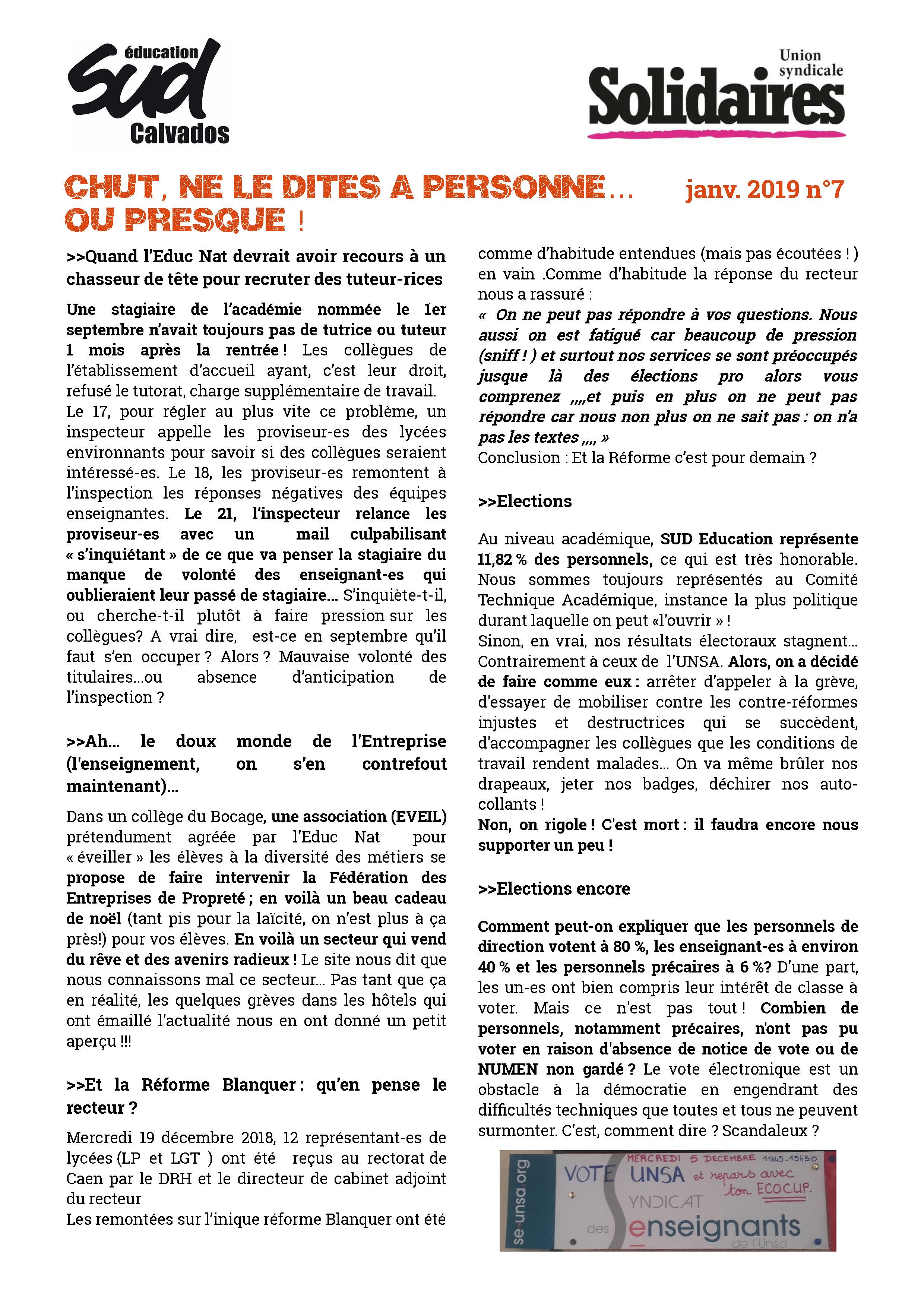 journal SUD Education Calvados n°61 - Supplément 4 - Mai 2014