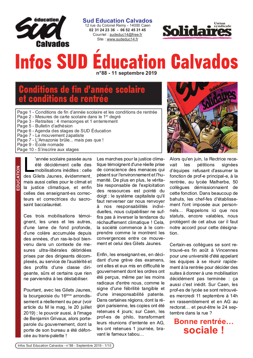 journal SUD Education Calvados n°88 -septembre 2019