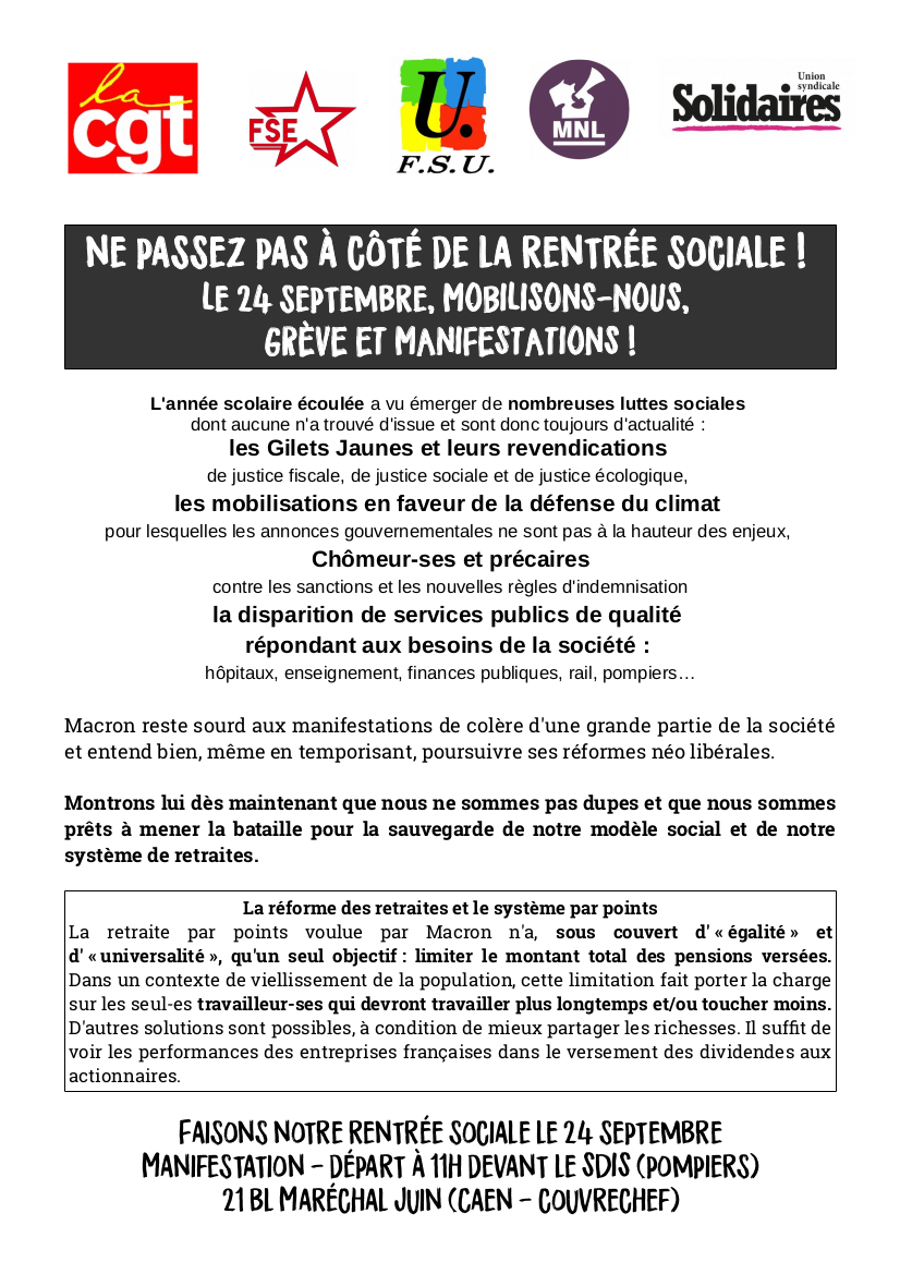 appel intersyndical à la grève et à la manifestation 24 septembre 2019