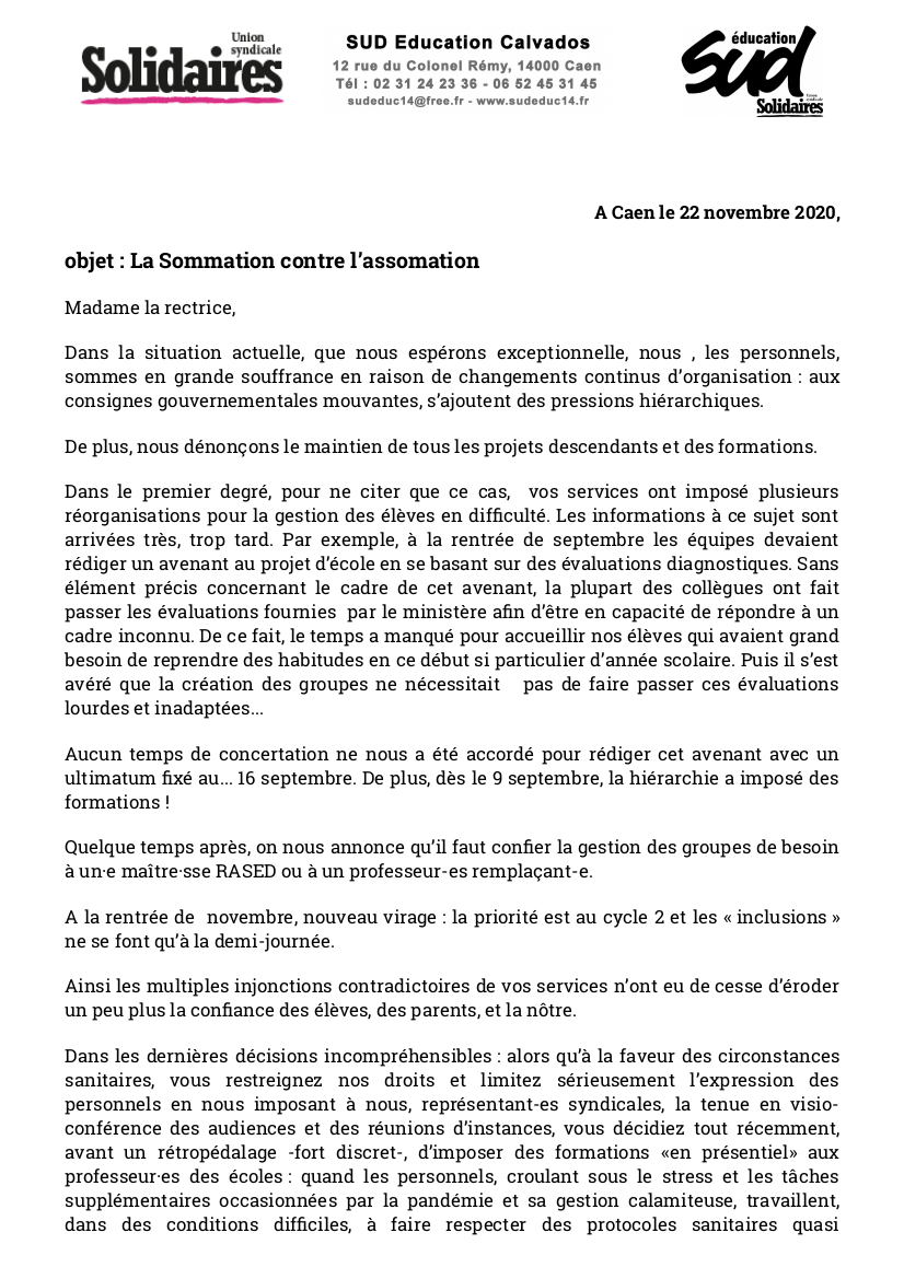 Courrier de SUD Education Calvados à la rectrice - 22 novembre 2020