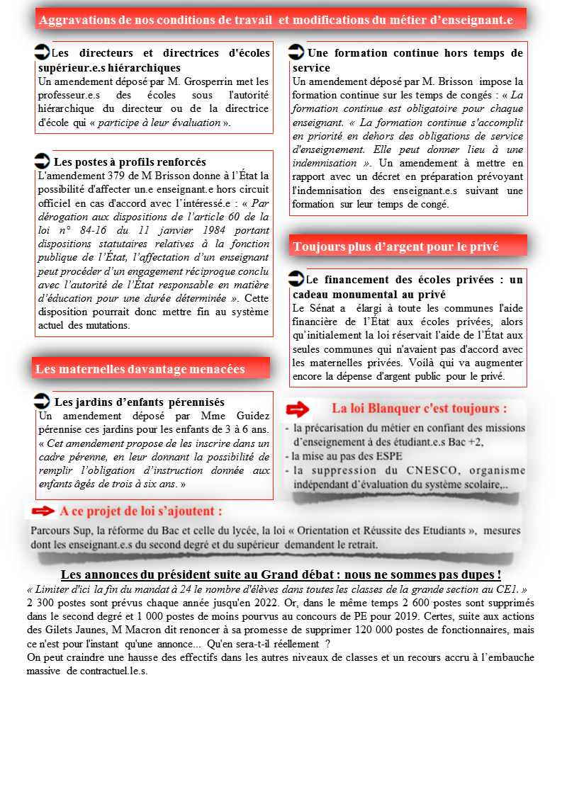 tract loi Blanquer SUD Education Solidaires