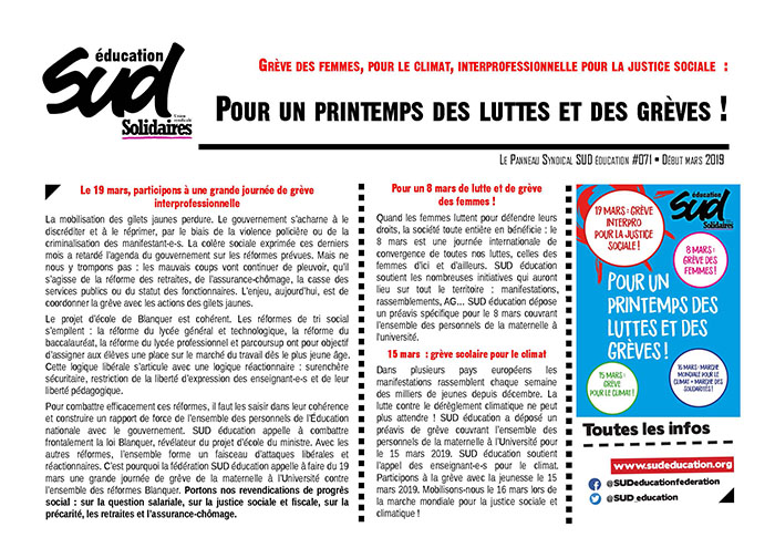 Panneau syndical SUD Education n°71