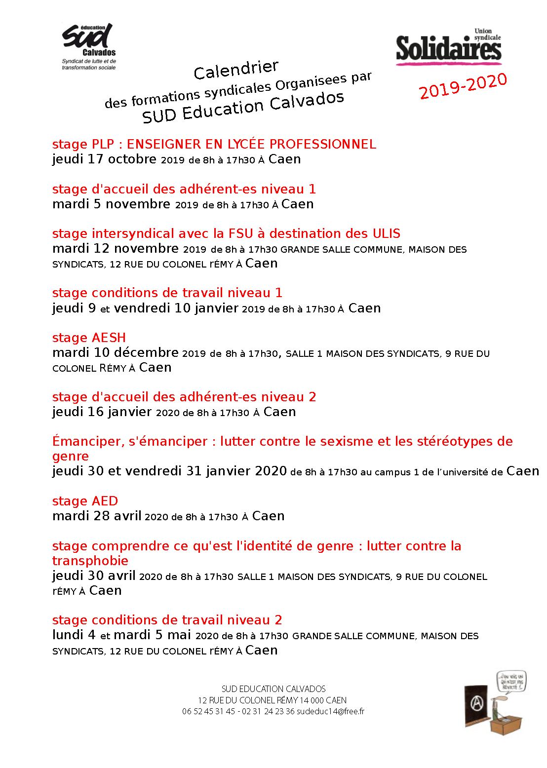 Calendrier des stages SUD Education Calvados 2019-2020