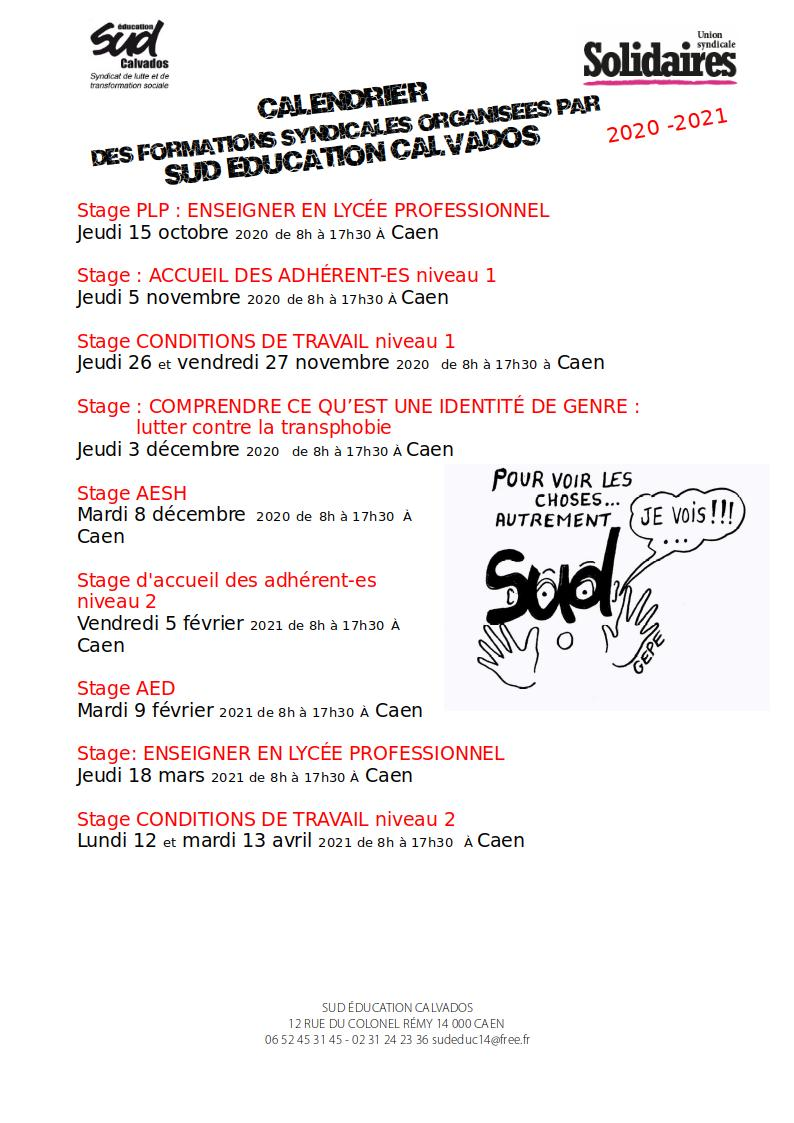 Calendrier des stages SUD Education Calvados 2020-2021