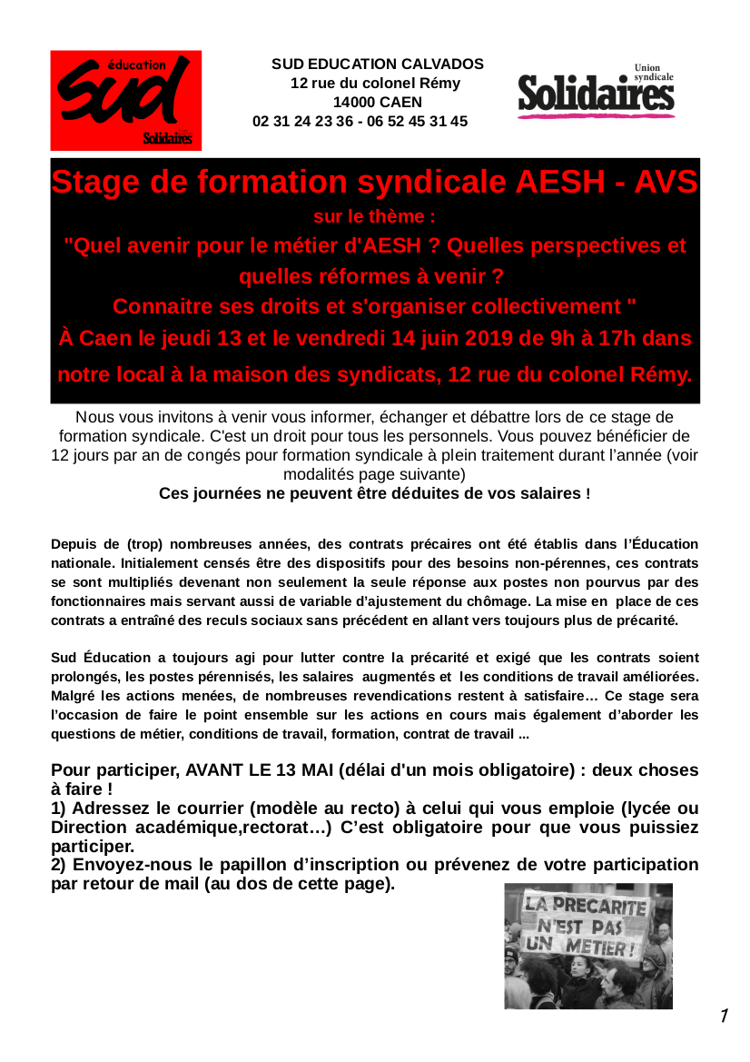 stage AESH AVS de SUD education Calvados